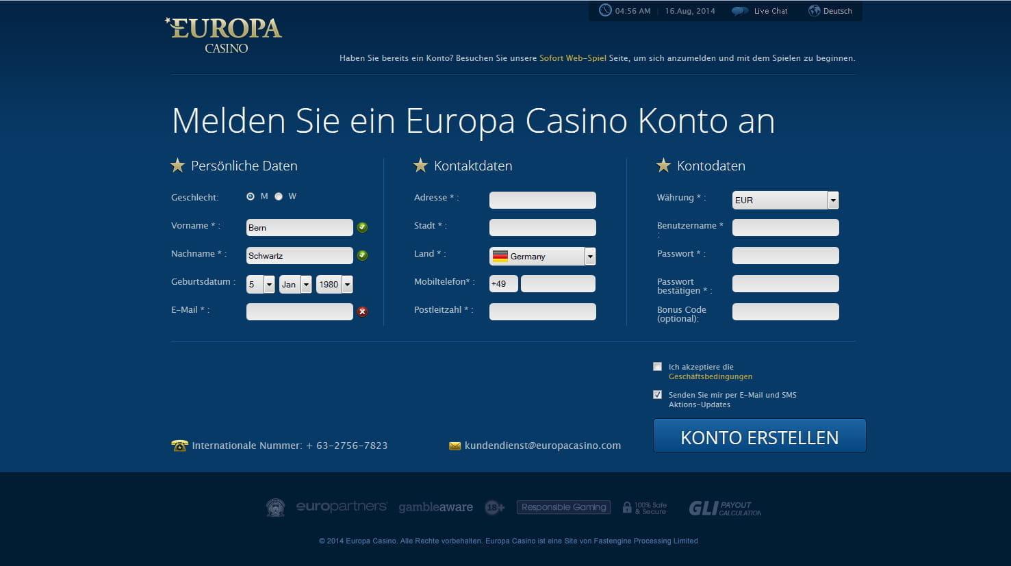 Europa casino bonus code 2013 casino club dado