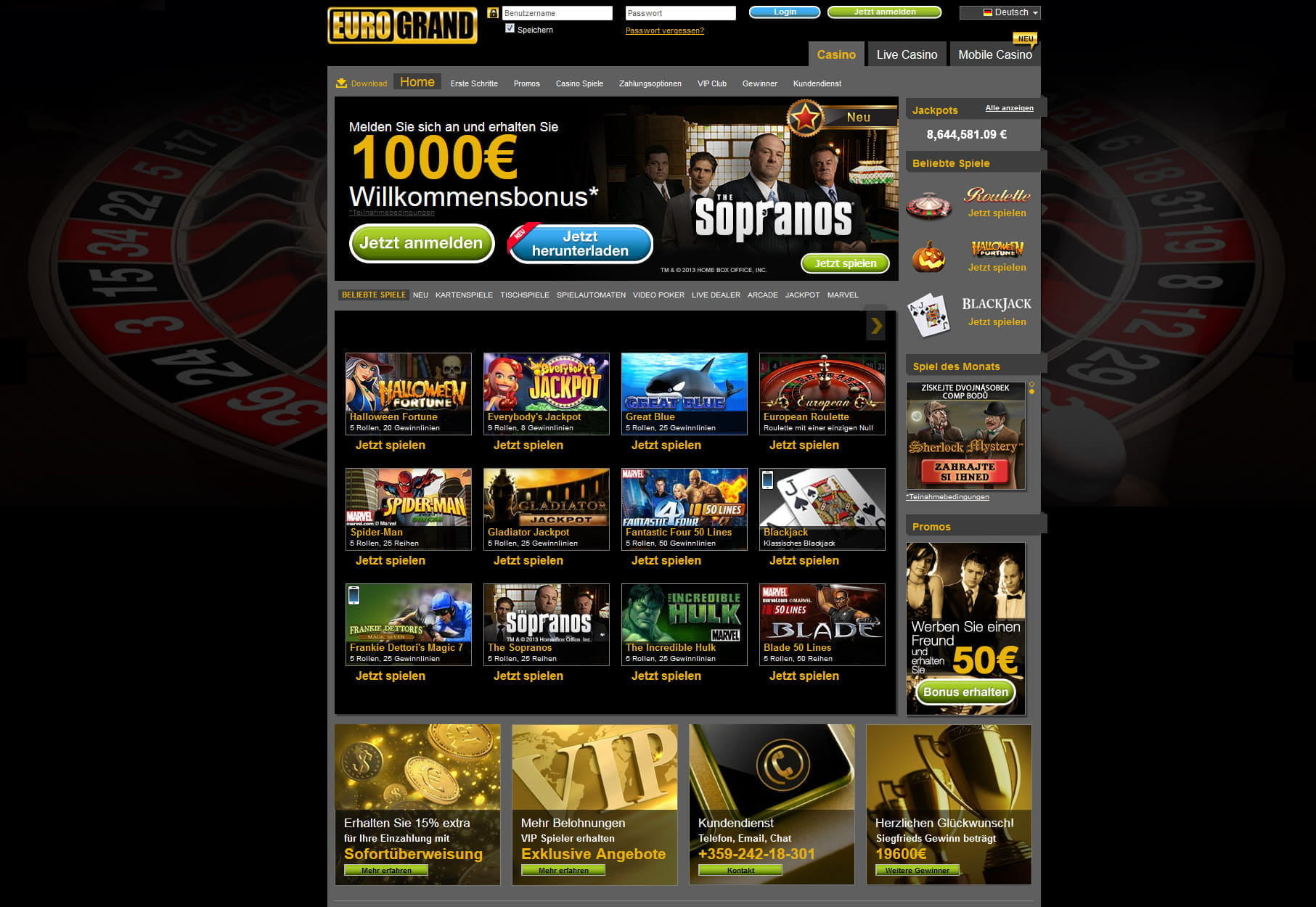 grand casino online online um echtes geld spielen