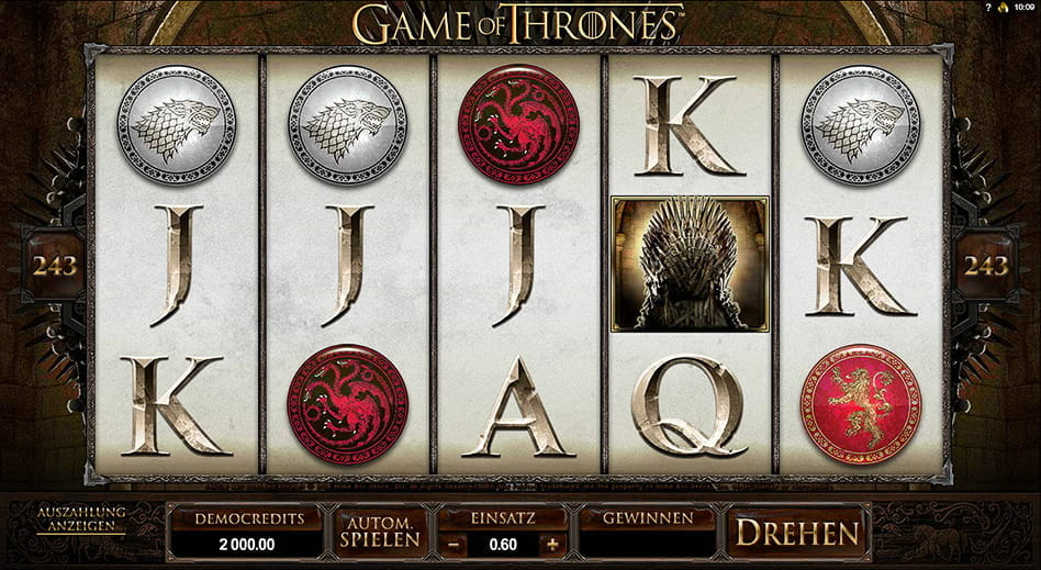 Der Game of Thrones Spielautomat von Microgaming als gratis Version