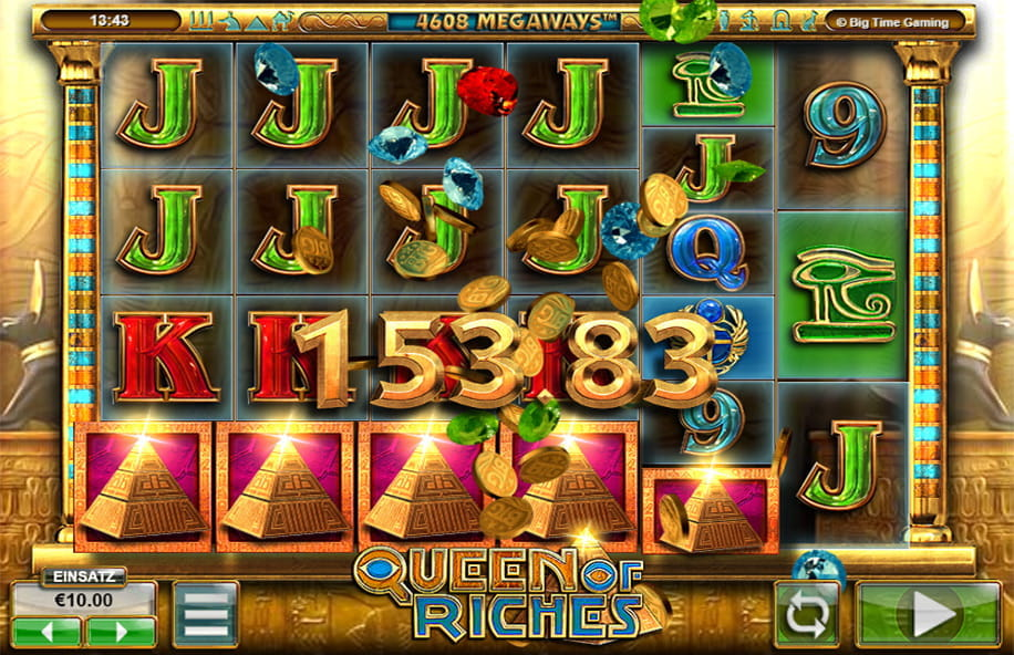 Ein hoher Gewinn beim Slot Queen of Riches vom Software Entwickler Big Time Gaming.