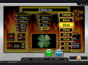 Die Risikoleiter des King of Luck Slots in Aktion