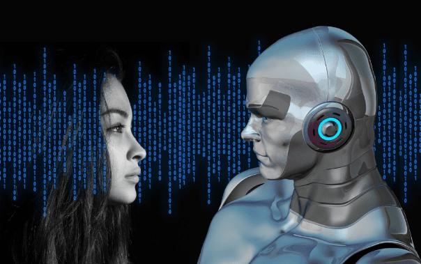 Frau und gerenderter Roboter blicken sich an, drumherum befinden sich Zahlen im Binärcode