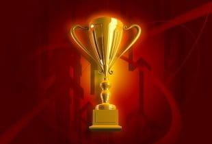 Ein Pokal auf rotem Hintergrund.