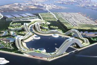 Eine digitale Illustration eines der geplanten Casino-Resorts in Japan.