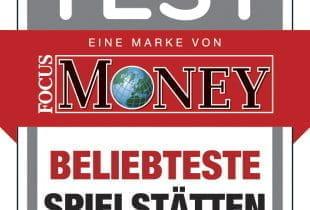 """Auszeichnung """"beliebteste Spielstätte"""" von FOCUS Money für Merkur"""