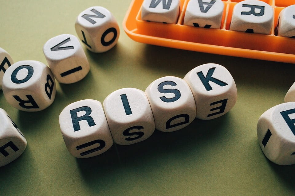 """Würfel mit Buchstaben in geordneter Reihenfolge erheben das Wort """"RISK"""""""
