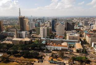 Die Hauptstadt Kenias, Nairobi, aus der Luftperspektive.