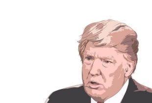 Farbige Skizze des Gesichts vom US-Präsidenten Donald Trump.