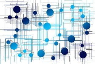 Grafische Darstellung eines verzweigten Netzwerks mit blauen Linien und Punkten.
