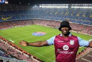 Fan im Trikot von Aston Villa im Stadion des FC Barcelona.