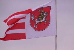 Flagge Schleswig-Holsteins im Wind.