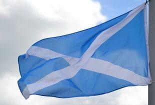 Die Flagge von Schottland weht im Wind.