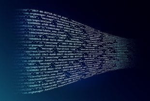 Digitaler Code in Wellenform vor dunklem Hintergrund.