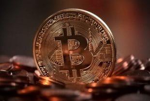 Eine Bitcoin-Münze.